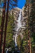Yosemite Falls in winter, Yosemite National Park, California USA