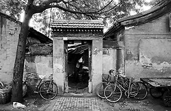 Entrance door to a traditional old house in a Beijing hutong
