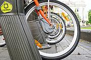 self-serve bike station on the street of Vilnius, Lithuania