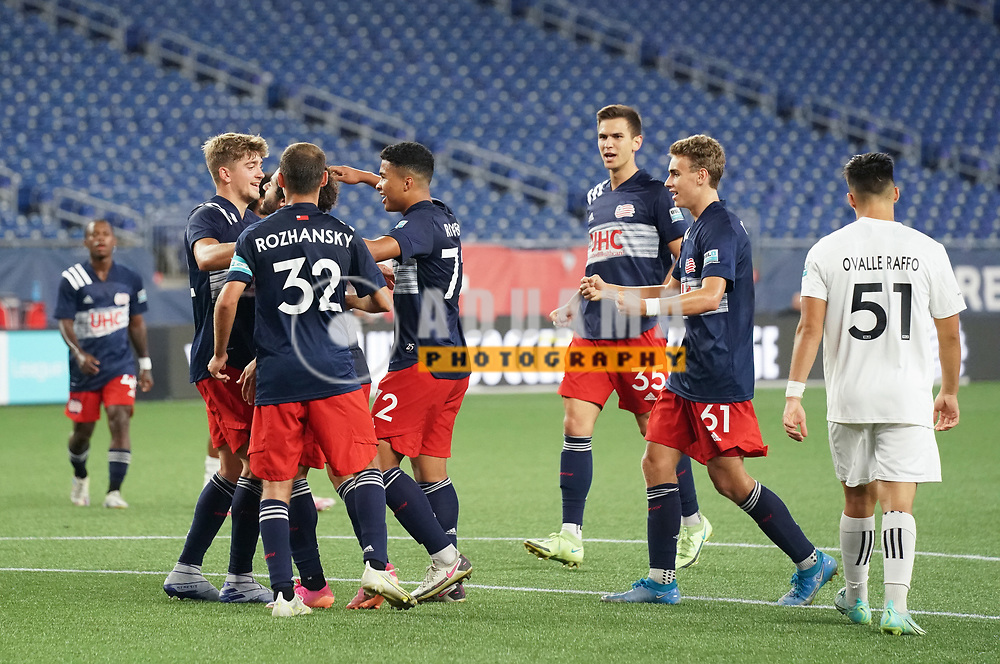 celebrates his goal with team mates during New England Revolution II and Toronto FC II USL  League One match in FOXBORO, MA on Friday, July 23, 2021  Revs II won 1-0. CREDIT/ CHRIS ADUAMA