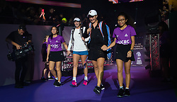 October 26, 2018 - Kallang, SINGAPORE - Coco Vandeweghe of the United States & Ashleigh Barty of Australia on their way to the court for their doubles quarterfinal at the 2018 WTA Finals tennis tournament (Credit Image: © AFP7 via ZUMA Wire)