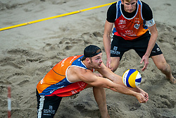 Jasper Bouter, Ruben Penninga in action during the third day of the beach volleyball event King of the Court at Jaarbeursplein on September 11, 2020 in Utrecht.