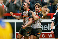 Bradford Bulls second row Elliot Minchella (12) scores a try  and celebrates during the Betfred League 1 match between Keighley Cougars and Bradford Bulls at Cougar Park, Keighley, United Kingdom on 11 March 2018. Picture by Simon Davies.