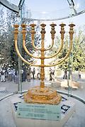 Israel, Jerusalem, Old City, Replica of the Golden temple Menorah.