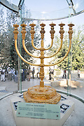 Israel, Jerusalem, Old City, Replica of the Golden temple Menorah.