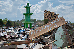 October 6, 2018 - Palu, Central Sulawesi, Indonesia - A damage mosque seen after the  earthquake and tsunami..A deadly earthquake measuring 7.5 magnitude and the tsunami wave caused by it has destroyed the city of Palu and much of the area in Central Sulawesi. According to the officials, death toll from devastating quake and tsunami rises to 1,480, around 800 people in hospitals are seriously injured and some 62,000 people have been displaced in 24 camps around the region. (Credit Image: © Hariandi Hafid/SOPA Images via ZUMA Wire)
