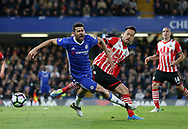 Chelsea's Diego Costa tussles with Southampton's Maya Yoshida during the Premier League match at Stamford Bridge Stadium, London. Picture date: April 25th, 2017. Pic credit should read: David Klein/Sportimage