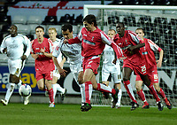 Photo: Adam Davies.<br /> Swansea City v Swindon Town. Coca Cola League 1. 11/04/2006.<br /> Swindon's Gareth Whalley and Swansea' (capt.) Roberto Martinez.