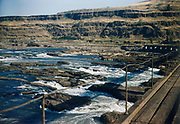CS00963-06. Looking toward the Oregon shore from the Oregon Trunk Bridge at Kiska and all the small islands surrounding it during the spring high water, 1956