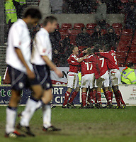 Photo: Paul Thomas , Digitalsport<br />  Nottingham Forest v Preston North End. Forest Ground, Nottingham. Coca Cola Championship. 23/02/2005. Forest celebrate Paul Evans's goal
