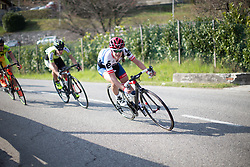 Clara Koppenburg attacks the switchbacks aggressively in the second short lap of the Trofeo Alfredo Binda - a 123.3km road race from Gavirate to Cittiglio on March 20, 2016 in Varese, Italy.