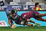 Ngane Punivai scores a try.<br /> Highlanders v Reds, Sky Super Rugby Trans-Tasman, Round 1. Forsyth Barr Stadium, Dunedin, New Zealand. Friday 14 May 2021. © Copyright photo: Derek Morrison / www.photosport.nz