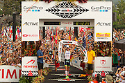 Frederik van Lierde wins the 2013 Ironan World Championships in Kona, Hawaii.<br /> The top ultra triatheletes from around the world gathered in Kona to take on what must be the world's most famous triathlon. Oakley, Inc hosted a select group of global media at the event. Image by BeadlePhoto/Oakley Commercial photography commissioned to Beadle Photo by international brands Global sport and corporate event photography by Greg Beadle. Greg captures the energy and emotion of international events including the World Economic Forum, Tour de France, Cape Epic MTB and the Cape Town Cycle Tour