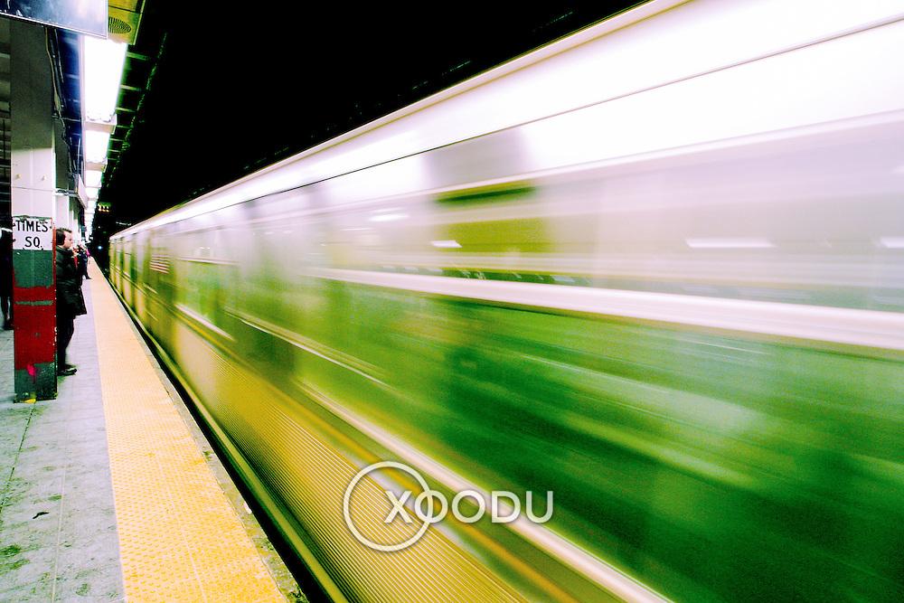Subway train speeds past, New York, United States (March 2005)