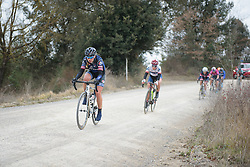Miriam Bjørnsrud (Hitec Products) chases across the second gravel sector at Strade Bianche - Elite Women. A 127 km road race on March 4th 2017, starting and finishing in Siena, Italy. (Photo by Sean Robinson/Velofocus)