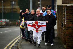 © Licensed to London News Pictures. 07/01/2017. London, UK. Members of the far-right group The South East Alliance arrive to protest against the expansion of Mote Road Islamic centre mosque in Maidstone, Kent. Plans to redevelop Maidstone Mosque into a purpose-built centre with three shops have been approved by  Maidstone Borough Council. A counter demonstration is Organised by The Kent Anti-Racism Network. . Photo credit: Ben Cawthra/LNP