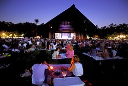 Stock photo of families at a night show at Hermann Park's Miller Outdoor Theater in Houston Texas