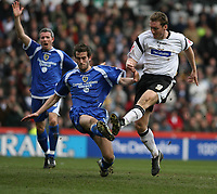 Photo: Pete Lorence.<br />Derby County v Cardiff City. Coca Cola Championship. 17/03/2007.<br />Steve Howard shoots the ball into the back of the net, taking Derby to 3-1.