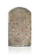 Ancient Egyptian stele of commander in chief Senebetysy, sandstone, Middle Kingdom, 13th Dynasty, (11759-1700 BC), Deir el-Medina, Old Fund cat 1629. Egyptian Museum, Turin. white background, <br /> <br /> Stet for the commander in chief of the city regiment of Sarenenutrt, son of Sainyt and his wife Senebtysy. .<br /> <br /> If you prefer to buy from our ALAMY PHOTO LIBRARY  Collection visit : https://www.alamy.com/portfolio/paul-williams-funkystock/ancient-egyptian-art-artefacts.html  . Type -   Turin   - into the LOWER SEARCH WITHIN GALLERY box. Refine search by adding background colour, subject etc<br /> <br /> Visit our ANCIENT WORLD PHOTO COLLECTIONS for more photos to download or buy as wall art prints https://funkystock.photoshelter.com/gallery-collection/Ancient-World-Art-Antiquities-Historic-Sites-Pictures-Images-of/C00006u26yqSkDOM