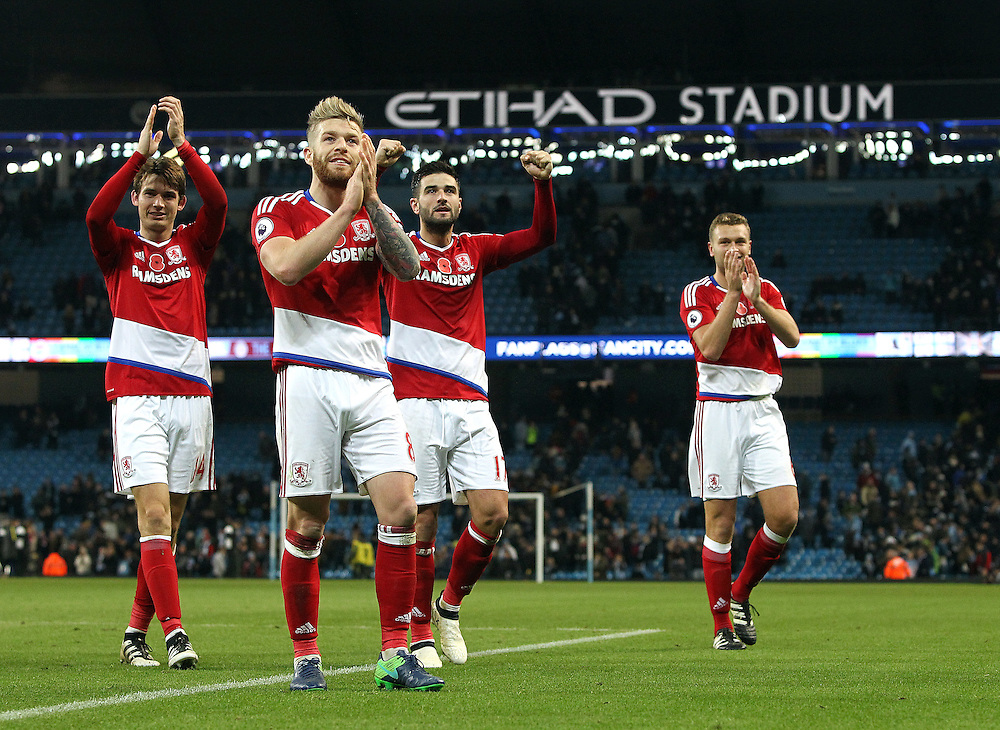 Middlesbrough players applaud the fans at the final whistle<br /> <br /> Photographer Rich Linley/CameraSport<br /> <br /> The Premier League - Manchester City v Middlesbrough - Saturday 5th November 2016 - Etihad Stadium - Manchester<br /> <br /> World Copyright © 2016 CameraSport. All rights reserved. 43 Linden Ave. Countesthorpe. Leicester. England. LE8 5PG - Tel: +44 (0) 116 277 4147 - admin@camerasport.com - www.camerasport.com