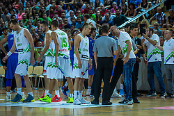 Klemen Prepelic and head coach Jure Zdovc of Slovenia during friendly basketball match between National teams of Slovenia and Italy at day 3 of Adecco Cup 2015, on August 23 in Koper, Slovenia. Photo by Grega Valancic / Sportida