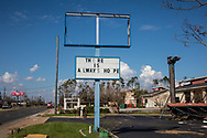 SIgn damaged by Hurricane Michael with a message of hope, in Callaway Florida.