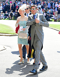 Unidentifiable guests arrive at St George's Chapel at Windsor Castle for the wedding of Meghan Markle and Prince Harry.