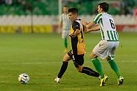 Sevilla, España, 15 de octubre de 2014: Jorde Fernandez (I) y JOrdi (D) peleando por el balon durante el partido entre Real Betis y Lugo correspondiente a la jornada 5 de la Copa del Rey 2014-2015 celebrado en el estadio Benito Villamarain de Sevilla.