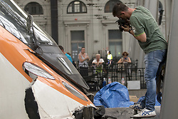 July 28, 2017 - Barcelona, Catalonia, Spain - Railway technicians check a train wagon at the Estacio de Franca (Franca station) in central Barcelona on July 28, 2017 after a regional train appears to have hit the end of the track inside the station injuring some 48 people. (Credit Image: © Miquel Llop/NurPhoto via ZUMA Press)