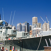 Navy boats on display at the Australian National Maritime Museum at Darling Harbour in Sydney