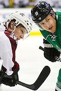 DALLAS, TX - SEPTEMBER 26:  Nathan MacKinnon #29 of the Colorado Avalanche gets ready to face off against Shawn Horcoff #10 of the Dallas Stars in an NHL preseason game on September 26, 2013 at the American Airlines Center in Dallas, Texas.  (Photo by Cooper Neill/Getty Images) *** Local Caption *** Nathan MacKinnon; Shawn Horcoff