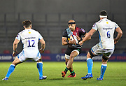Harlequins wing Aaron Morris runs at Sale Sharks centre Rohan Janse van Rensburg and  flanker Jono Ross during The Premiership Rugby Cup Final at The AJ Bell Stadium, Eccles, Greater Manchester, United Kingdom, Monday, September 21, 2020. (Steve Flynn/Image of Sport)