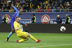 (l-r) Ryan Babel of Holland, Cosmin Moti of Romania during the friendly match between Romania and The Netherlands on November 14, 2017 at Arena National in Bucharest, Romania