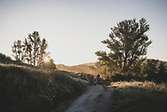 Sunrise on the Camino as pilgrims depart Hontanas for another day of walking. The time is 7:08 am. (June 16, 2018)<br />