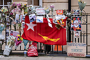 Tributes for those killed in the aftermath of Myanmar's coup, are attached to railings outside the country's London embassy, on 8th April 2021, in London, England. The democratically-elected government in Myanmar was overthrown by a military-led coup in February.