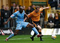 Photo: Steve Bond.<br />Wolverhampton Wanderers v Coventry City. Coca Cola Championship. 06/10/2007. Dele Adebola (L) stretches for the ball