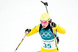 February 12, 2018 - Pyeongchang, SOUTH KOREA - 180212  Elisabeth HÅ¡gberg of Sweden competes in the Women's Biathlon 10km Pursuit during day three of the 2018 Winter Olympics on February 12, 2018 in Pyeongchang..Photo: Jon Olav Nesvold / BILDBYRN / kod JE / 160156 (Credit Image: © Jon Olav Nesvold/Bildbyran via ZUMA Press)