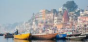 Boats on the Ganges river at Varanasi (India)