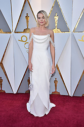 Margot Robbie walking the red carpet as arriving for the 90th annual Academy Awards (Oscars) held at the Dolby Theatre in Los Angeles, CA, USA, on March 4, 2018. Photo by Lionel Hahn/ABACAPRESS.COM