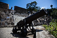 Canons line the fortress walls of Monte fort in central Macau.