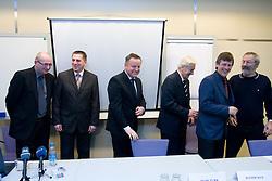 Branko Gros, mag. Stanko Glazar, Tugo Frajman, candidate for the president of Slovenian football federation, dr. Rudi Turk, Danilo Kacijan and Ciril Kolesnik at press conference,  on January 23, 2009, in Ljubljana, Slovenia.  (Photo by Vid Ponikvar / Sportida)