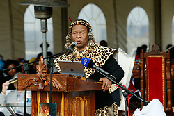 Ulundi 270818: King Goodwill Zwelithini speaks at His Royal Highness Prince Mangosuthu Buthelezi 90th Birthday held at Prince Mangosuthu Buthelezi stadium in Ulundi where thousands came to celebrate.<br /> Picture:Sibonelo Ngcobo/ African News Agency (ANA)