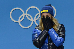 February 14, 2018 - Pyeongchang, South Korea - STINA NILSSON of Sweeden celebrates getting the gold medal in the Woman's Sprint Classic cross country skiing event in the PyeongChang Olympic games. (Credit Image: © Christopher Levy via ZUMA Wire)