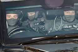 © Licensed to London News Pictures. 03/12/2019. London, UK. Counter Terrorist Specialist Firearms Officers (CT-SFO) are seen in a motorcade arriving back at Winfield House in Regents Park, London, where President Donald Trump is staying during the NATO leaders summit. Worlds leaders are due to attend a series of events over a two day NATO summit which will mark the 70th anniversary of the alliance of nations. Photo credit: Ben Cawthra/LNP