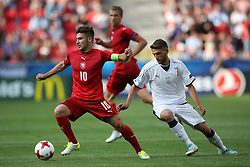 Czech Republic's Michal Travnik and Italy's Domenico Berardi battle for the ball