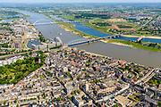 Nederland, Gelderland, Nijmegen, 29-05-2019; overzicht historisch binnenstad Nijmegen met onder andere Stevenskerk, Waalkade, rivier de Waal.<br /> Historic city center Nijmegen.<br /> luchtfoto (toeslag op standard tarieven);<br /> aerial photo (additional fee required);<br /> copyright foto/photo Siebe Swart