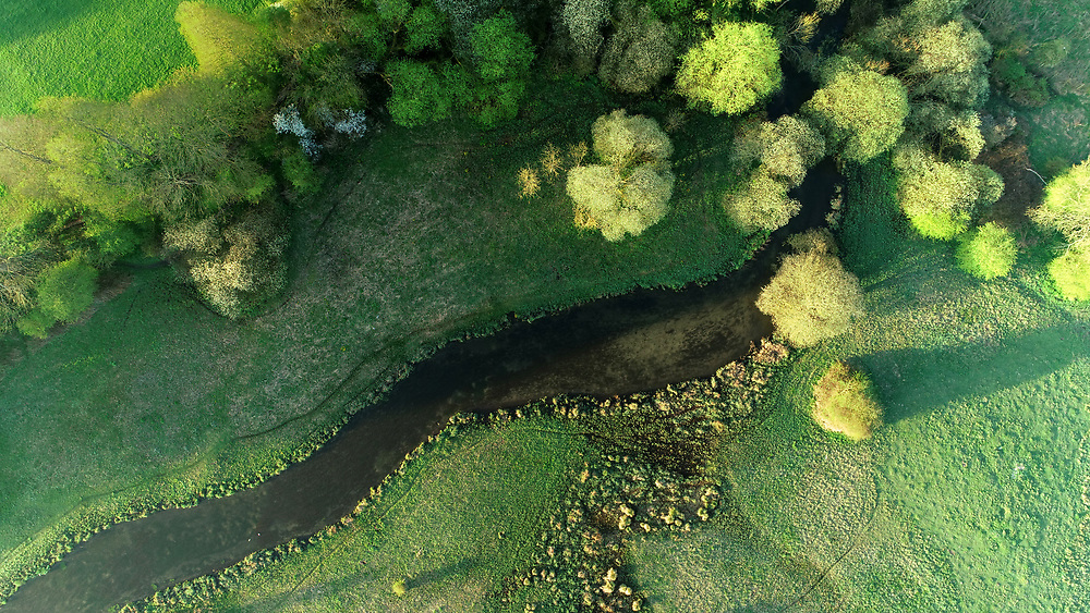 Overhead view of the River Test at Cow Common, Chilbolton, Hampshire.