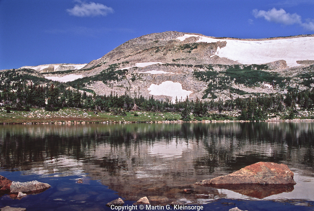 Reflections of Browns Peak in East Glacier Lake.   Snowy Range Mountains, Wyoming.  USA