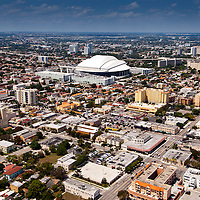 """Builit on the exact location of the iconic and historic Orange Bowl football stadium, Major League Baseball's Miami Marlins new baseball only """"park"""" opens for its first game April 4, 2012"""