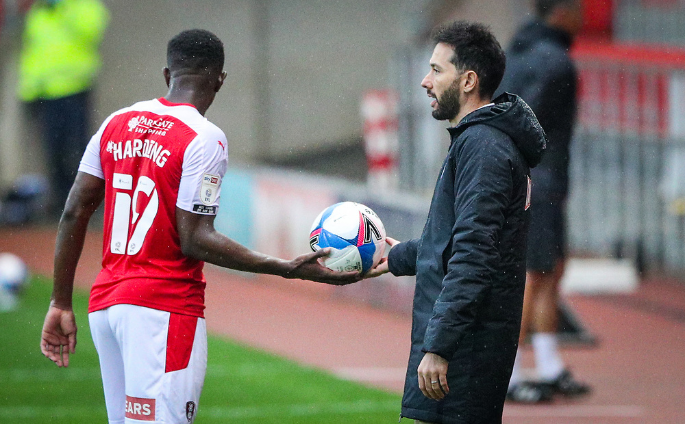Huddersfield Town manager Carlos Corberán gives the ball to Rotherham United's Wes Harding<br /> <br /> Photographer Alex Dodd/CameraSport<br /> <br /> The EFL Sky Bet Championship - Rotherham United v Huddersfield Town - Saturday 3rd October 2020 - New York Stadium - Rotherham<br /> <br /> World Copyright © 2020 CameraSport. All rights reserved. 43 Linden Ave. Countesthorpe. Leicester. England. LE8 5PG - Tel: +44 (0) 116 277 4147 - admin@camerasport.com - www.camerasport.com